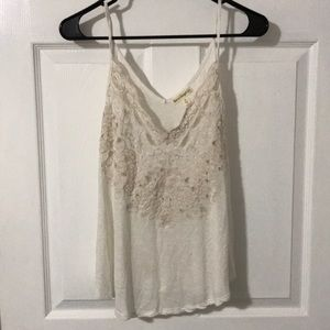 Cream delicate detailed tank